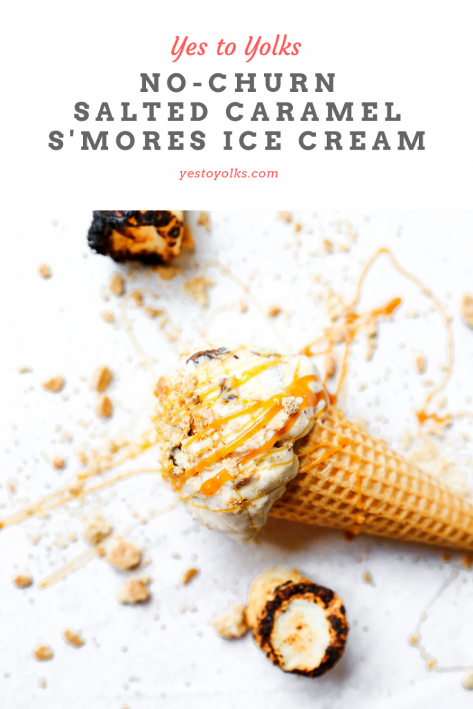 No-Churn Salted Caramel S'mores Ice Cream