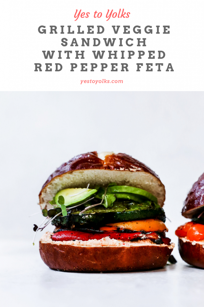 Grilled Veggie Sandwich with Whipped Red Pepper Feta