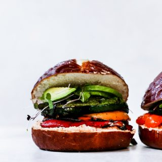 Grilled Veggie Sandwiches with Whipped Red Pepper Feta