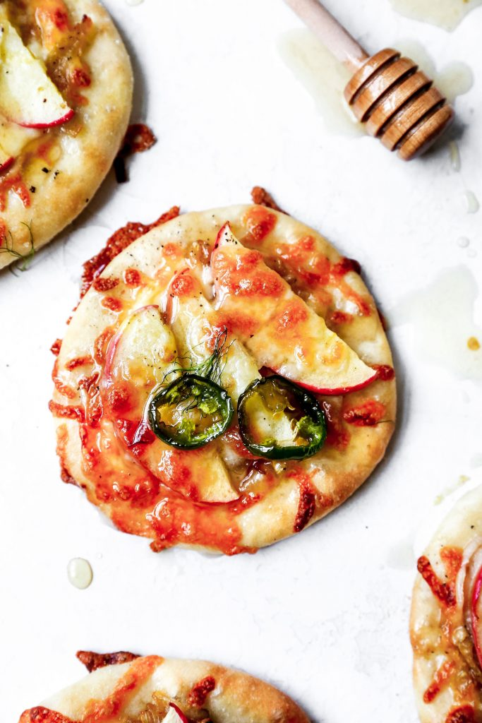 Mini Caramelized Fennel & Apple Pizzas with Spicy Honey