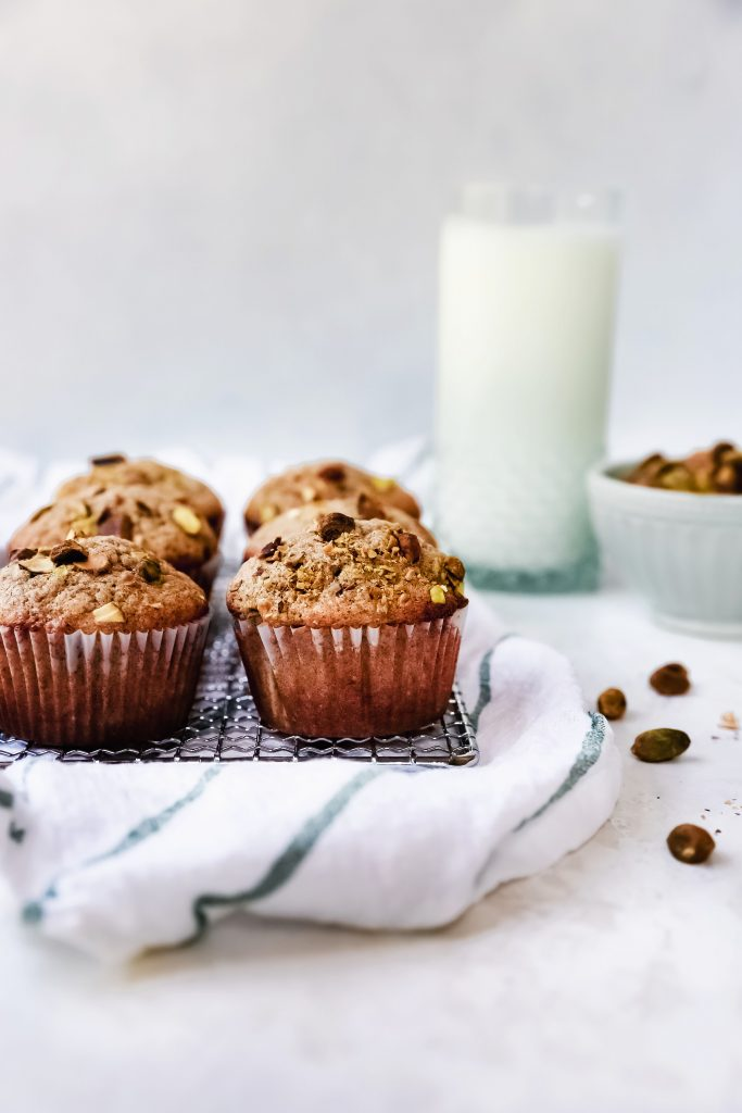 Pistachio Chai Muffins with Lemon Glaze