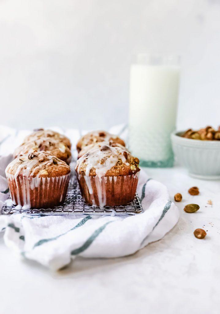 Pistachio Chai Muffins with Lemon Glaze