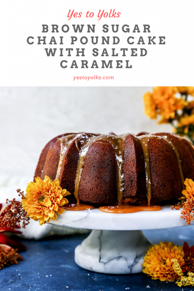 Brown Sugar Chai Pound Cake with Salted Caramel