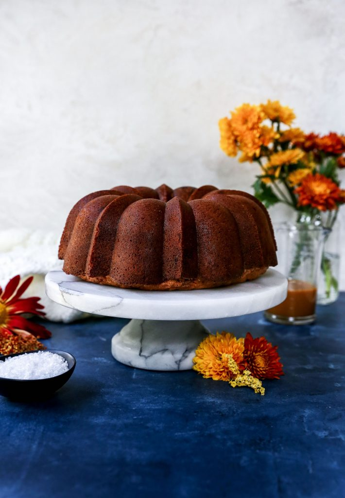Brown Sugar Chai Pound Cake with Salted Caramel Glaze