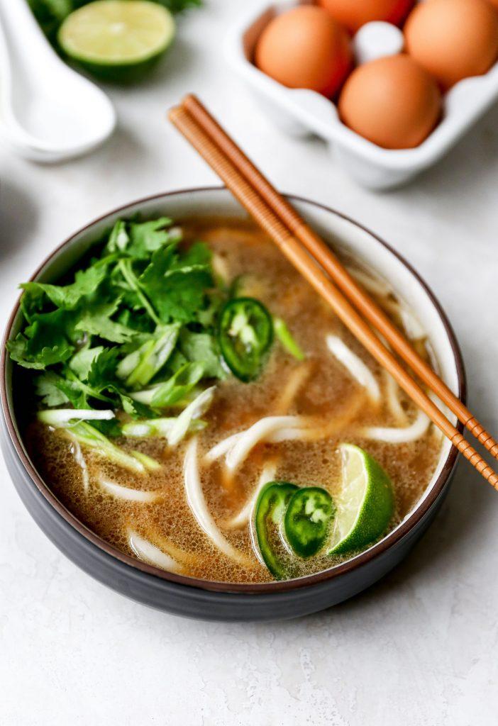Pho-Spiced Egg Drop Udon Soup