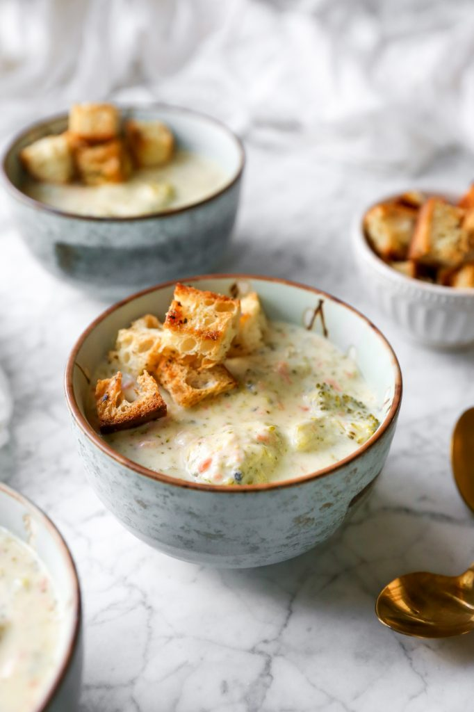 Broccoli Cheddar Soup with Garlic Brown Butter Croutons