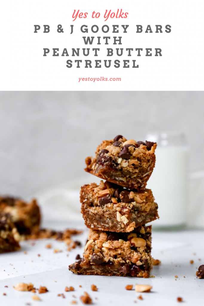 PB & J Gooey Bars with Peanut Butter Streusel