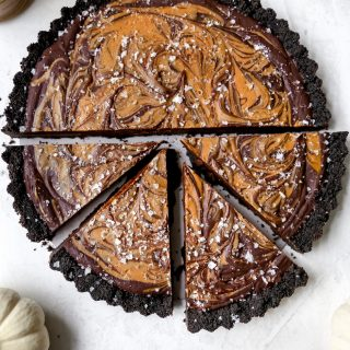 Spiced Dark Chocolate Tart with Cookie Butter Swirl
