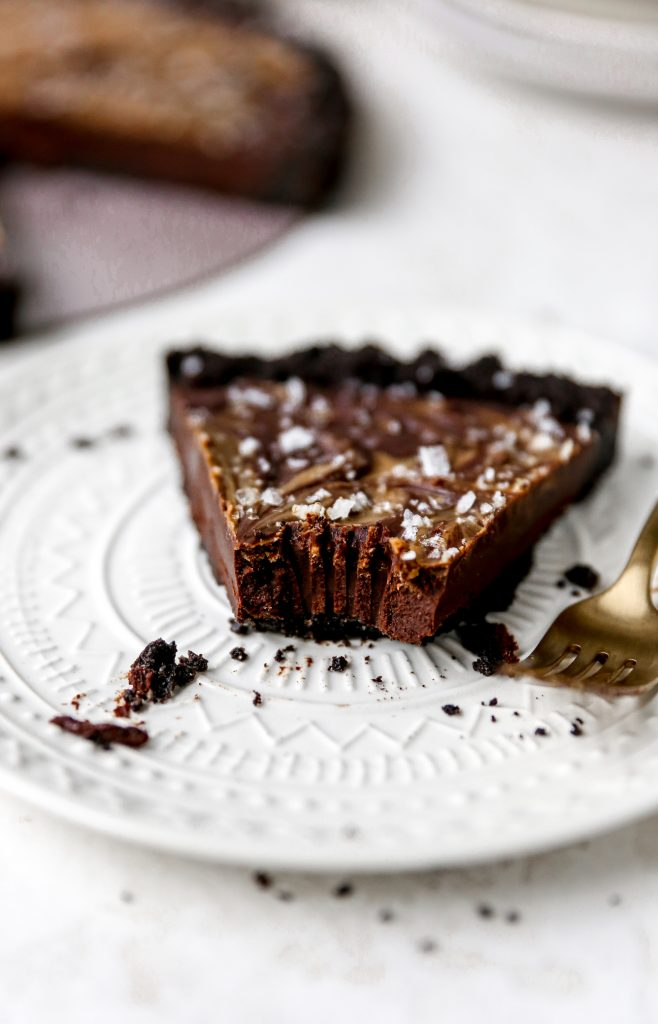 Spiced Dark Chocolate Tart with Cookie Butter Swirl