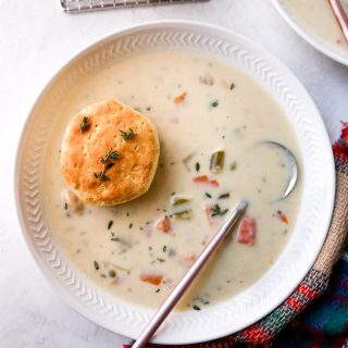 Turkey Pot Pie Soup with Cream Cheese Biscuits