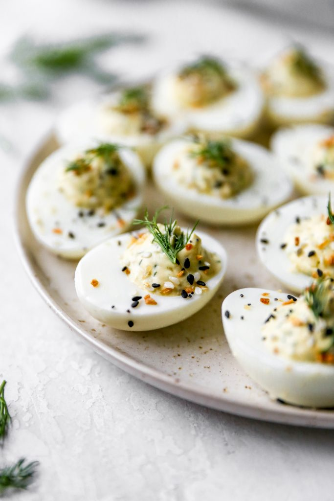 Everything Deviled Eggs with Scallion-Dill Cream Cheese