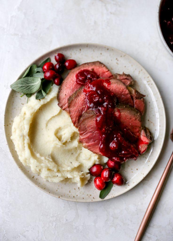 Beef Tenderloin with Red Wine Cranberry Sauce