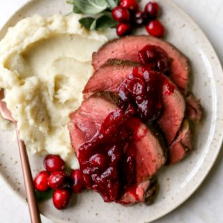 Beef Tenderloin with Red Wine Cranberry Sauce