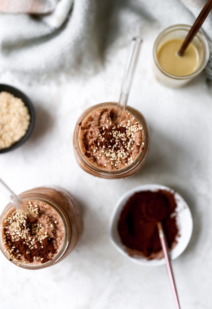 Chocolate Tahini Oat Milk Latte Smoothie