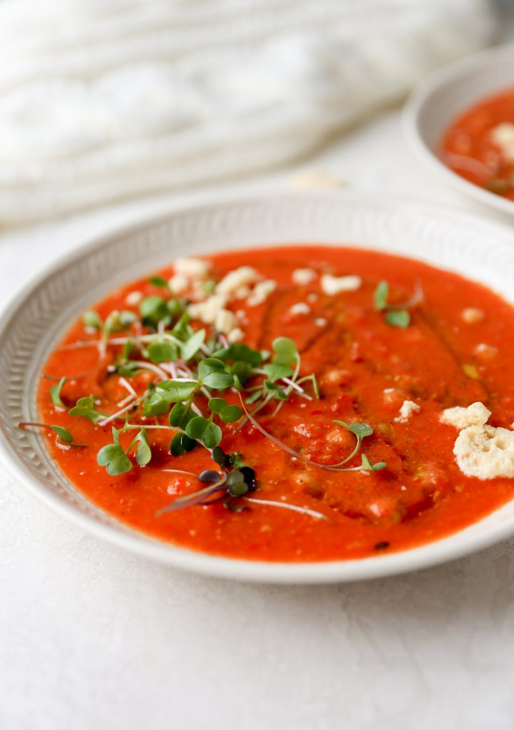 Roasted Red Pepper, Chickpea, & Tomato Soup