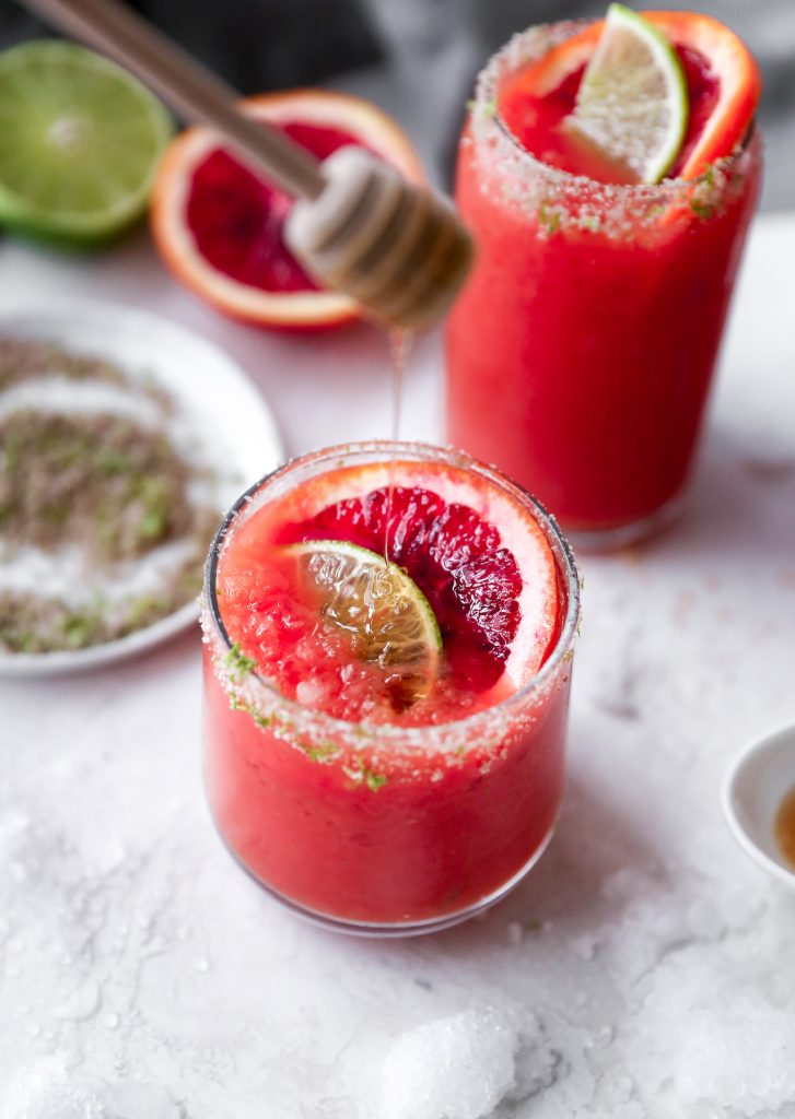 Honey Blood Orange Margaritas with Smoky Lime Salt