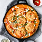 Buffalo Chicken Pot Pie with Beer-Cheese Biscuits