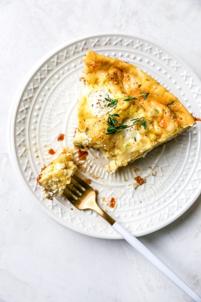 French Onion Frittata with Gruyere & Ricotta