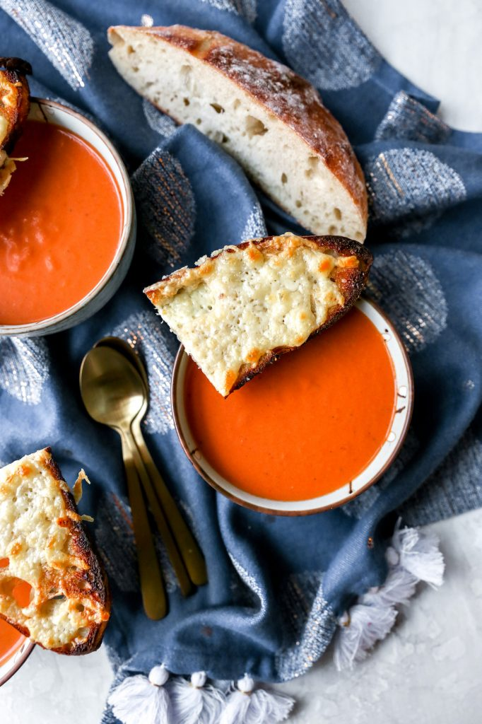 Sherried Tomato Bisque with Fontina Toasts