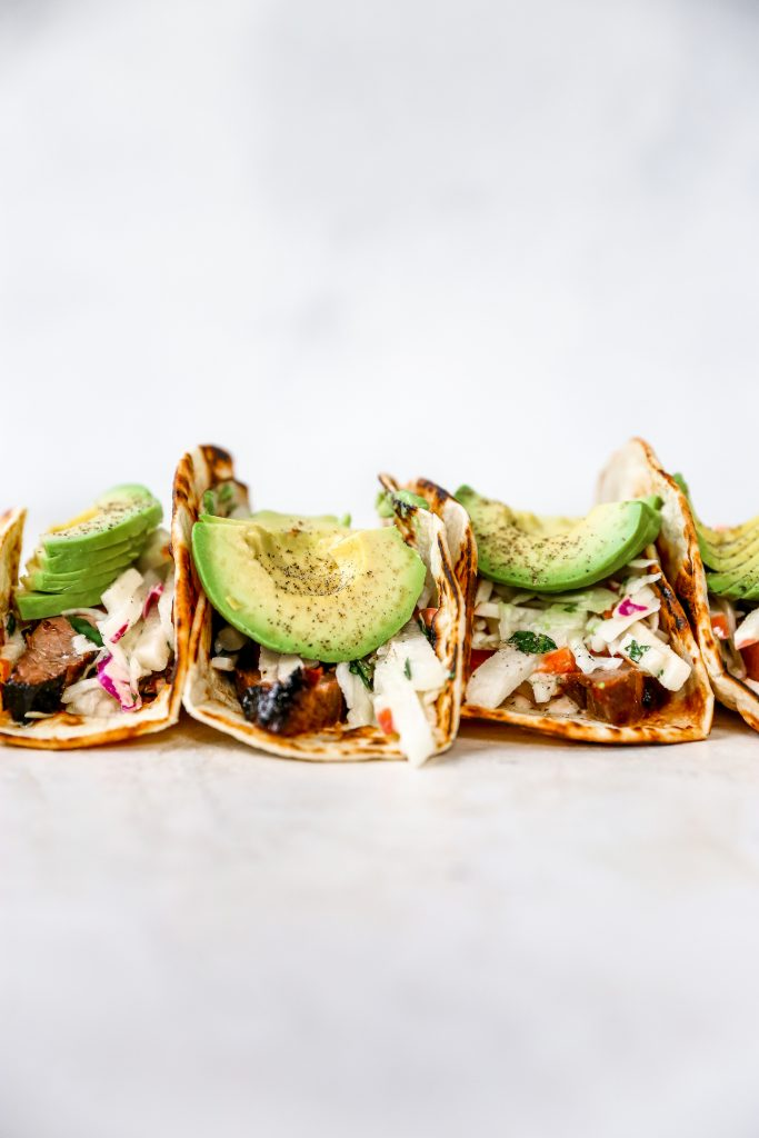 Spicy Flank Steak Tacos with Jicama-Apple Slaw