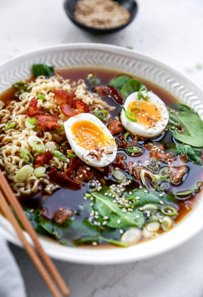 Homemade Ramen with Bacon & Soft-Boiled Eggs