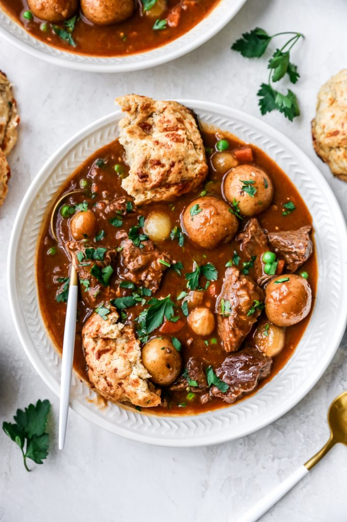 Irish Beef Stew with Stout-Cheddar Biscuits