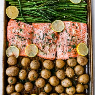 Sheet Pan Garlic Butter Salmon and Veggies