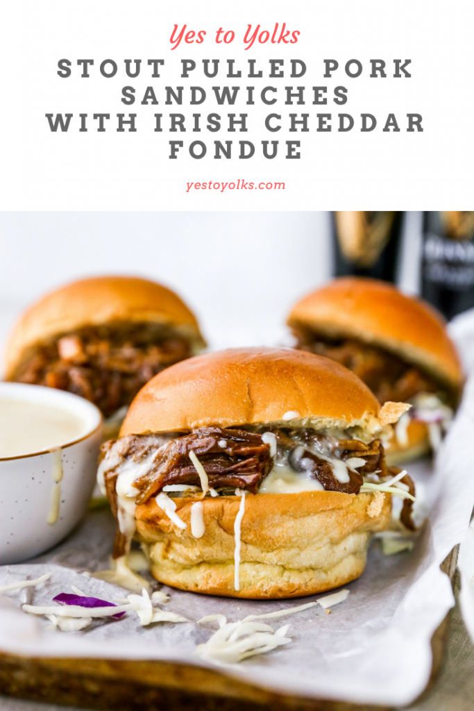Stout Pulled Pork Sandwiches with Irish Cheddar Fondue