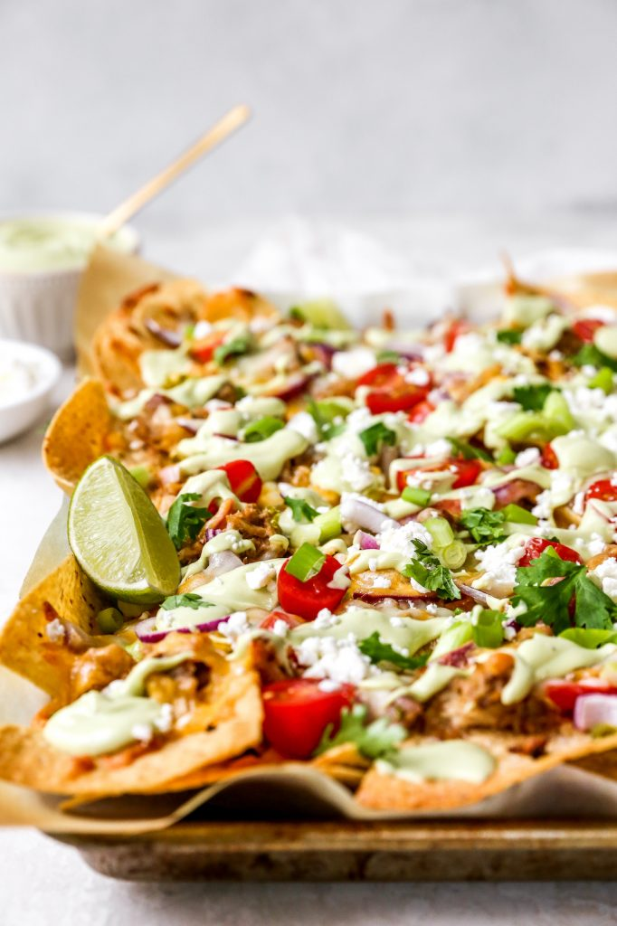 Margarita Pulled Pork Nachos with Avocado Ranch Crema