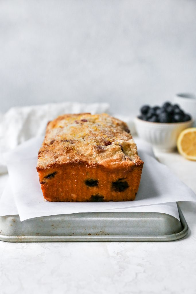 Blueberry Lemon Sour Cream Pound Cake with Lemon Sugar Crust