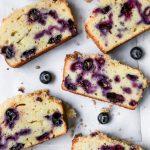 Blueberry Lemon Sour Cream Pound Cake with Lemon Sugar Crust