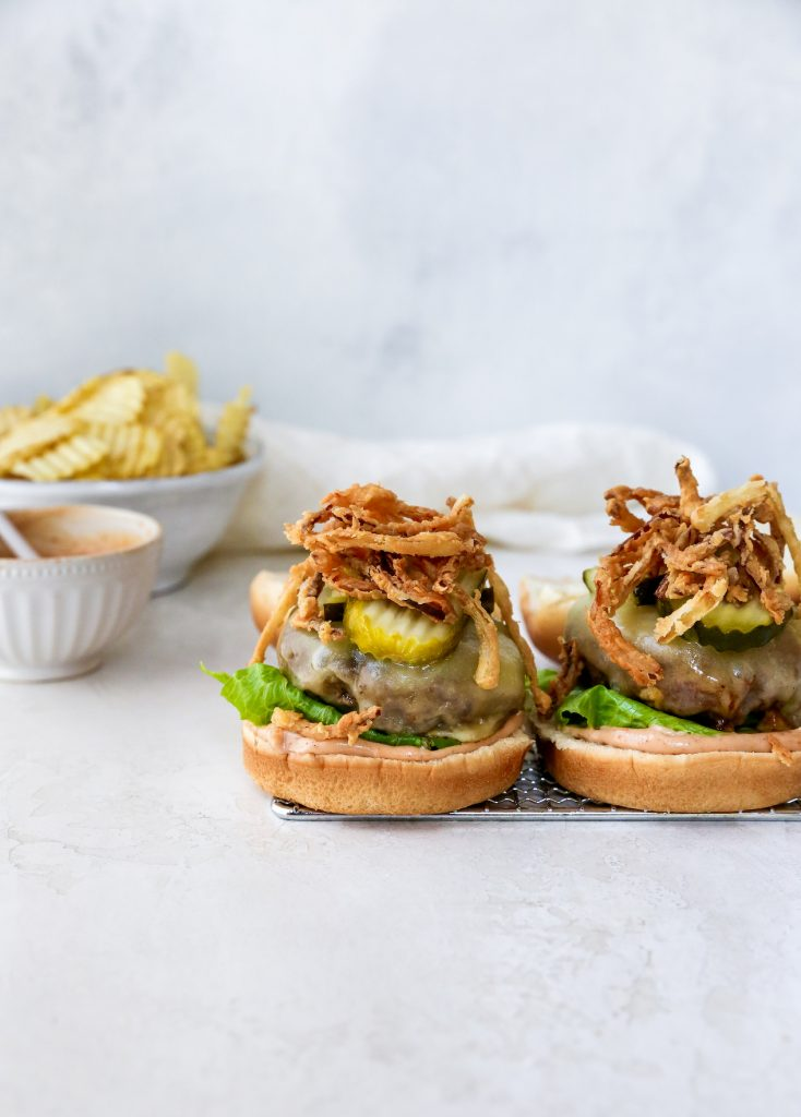BBQ Cheeseburgers with Crispy Onions