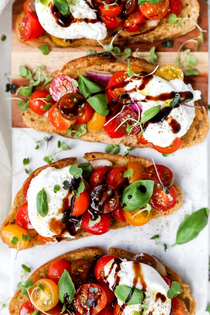 Burrata Bruschetta Toasts