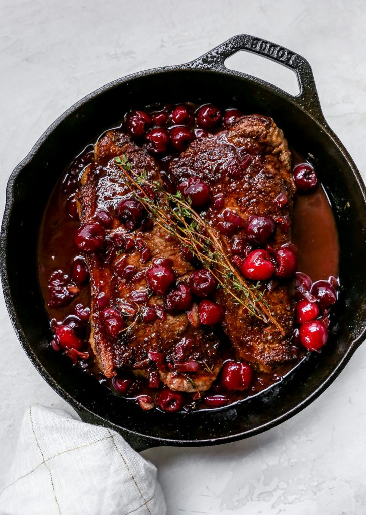 Steaks with Fresh Cherry Sauce