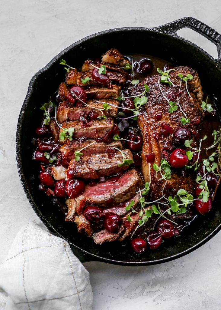 Steaks with Fresh Cherry Sauce