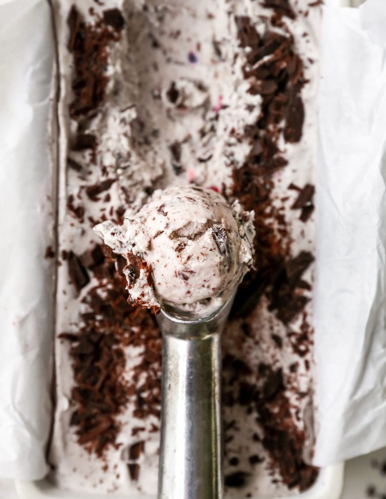 No-Churn Amaretto Cherry & Dark Chocolate Ice Cream