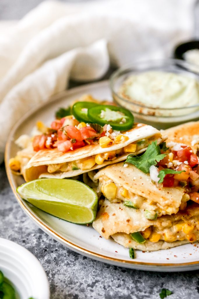Mexican Street Corn Quesadillas with Avocado Crema