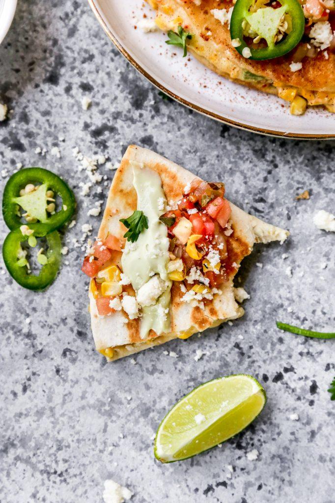 Mexican Street Corn Quesadillas with Avocado Crema