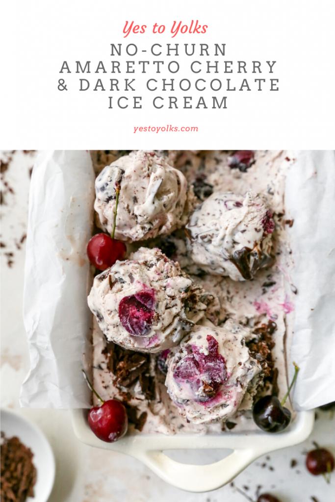 No-Churn Amaretto Cherry & Dark Chocolate Ice Cream
