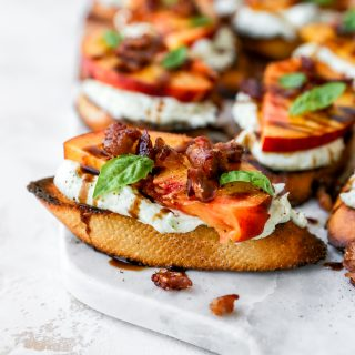Peach Crostini with Herbed RIcotta & Crispy Prosciutto