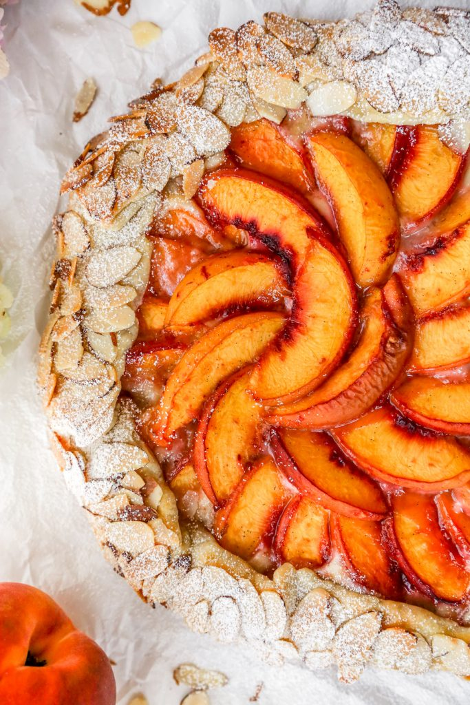 Peaches & Cream Galette with Sugared Almond Crust