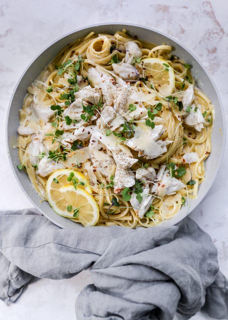 Lemon Cream Linguine with Crab