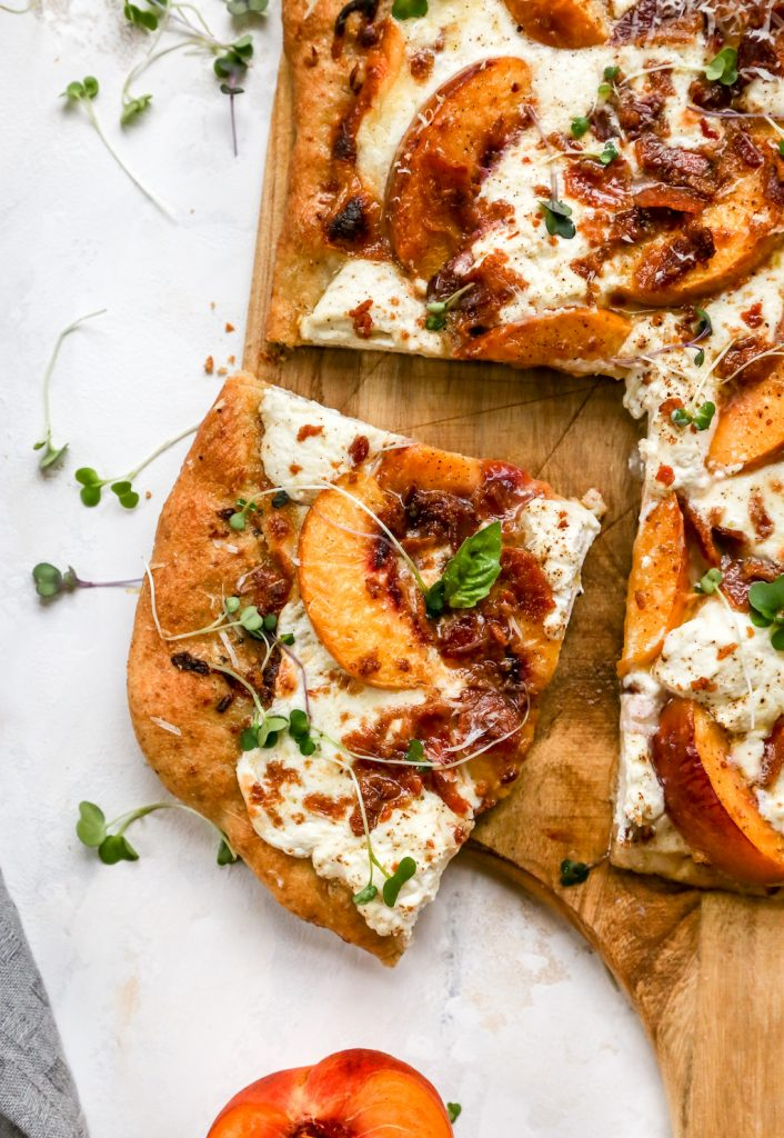 Peach & Bacon White Pizza with Ricotta