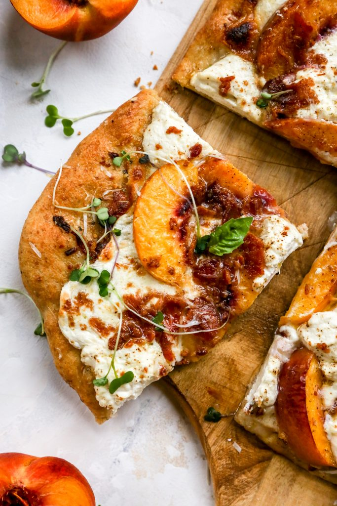 Peach & Bacon White Pizza with Ricotta