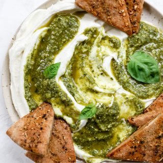 Whipped Ricotta with Sweet Lemon-Basil Pesto & Spiced Pita Chips