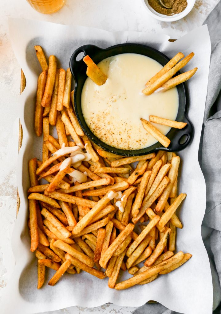 Crab Fries with Beer-Cheese Sauce