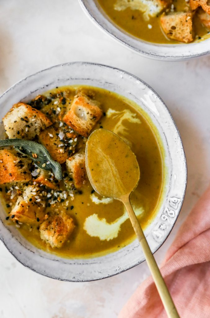 Butternut Squash & Hard Apple Cider Soup with Everything-Sage Croutons