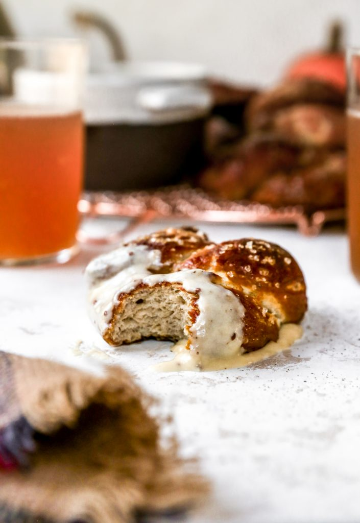 Spiced Pumpkin Beer Soft Pretzels with Mustard Cheddar Fondue