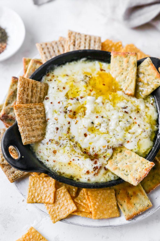 Baked Cheese with Lemon, Garlic, & Herbs
