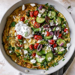 Greek Frittata with Herby Cucumber Salad & Tzatziki